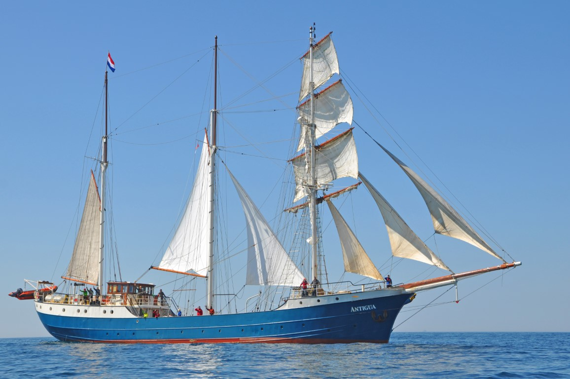 Antigua under sail - starboard side