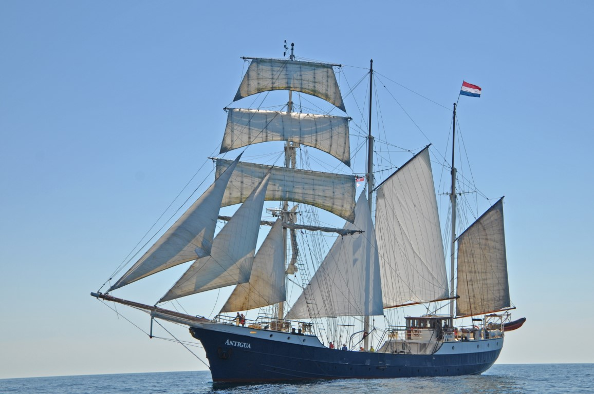 Antigua under sail - port side